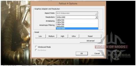 Changer la résolution d'affichage dans Fallout4Launcher.exe