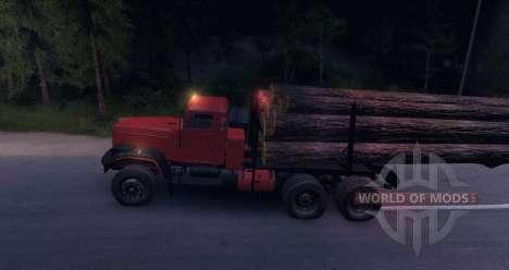 KrAZ Holz LKW auf der Straße für Spin Tires