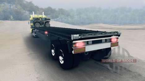 Semi-remorque avec des VTT et des barils pour Spin Tires