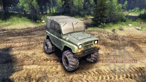 Der UAZ-469 mit neuen Rädern für Spin Tires