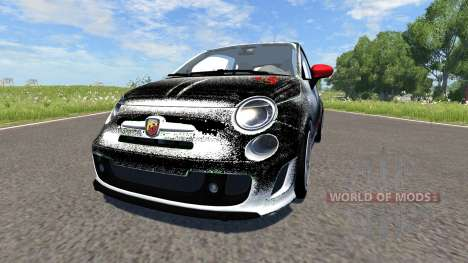 Fiat 500 Abarth White and Black pour BeamNG Drive