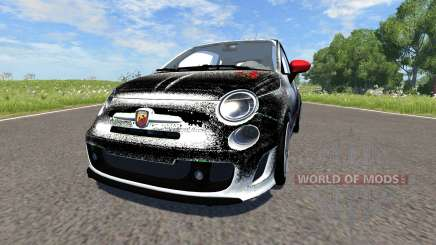 Fiat 500 Abarth White and Black für BeamNG Drive