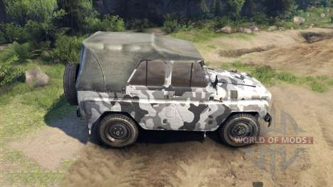 Der UAZ-469 in einer neuen Farbe für Spin Tires