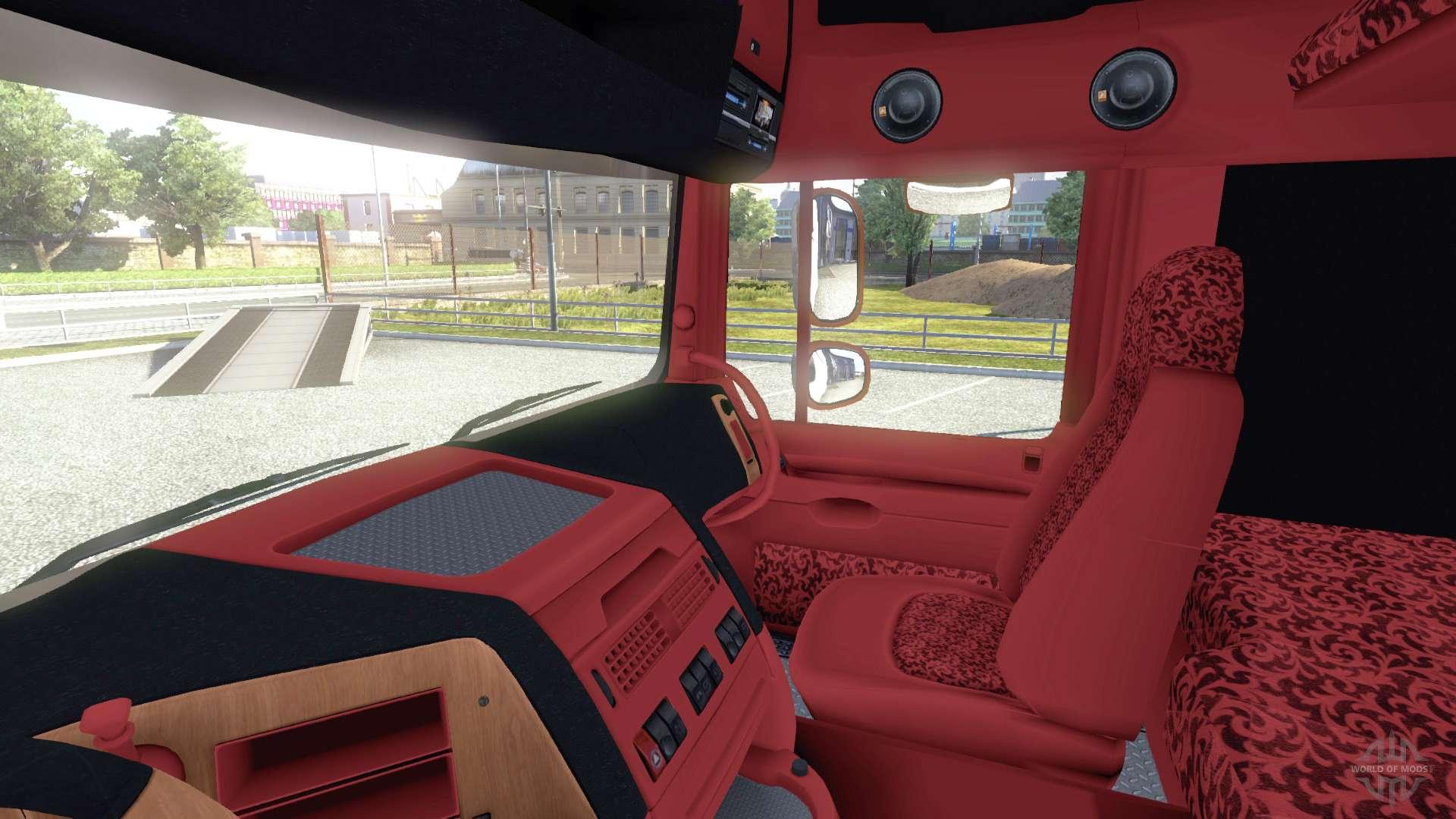 De l 39 int rieur pour daf rouge orange pour euro truck for Interieur rouge