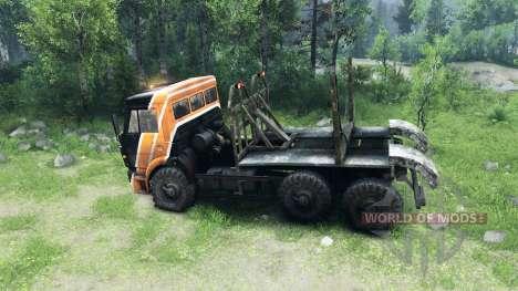 Le noir et la couleur orange sur KAMAZ-6520 pour Spin Tires