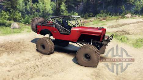 Jeep Willys red für Spin Tires