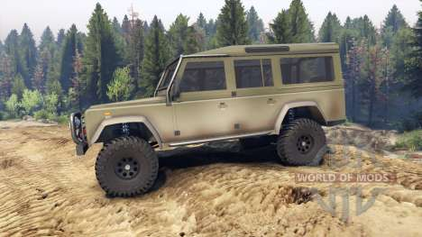 Land Rover Defender 110 dirty flat green pour Spin Tires