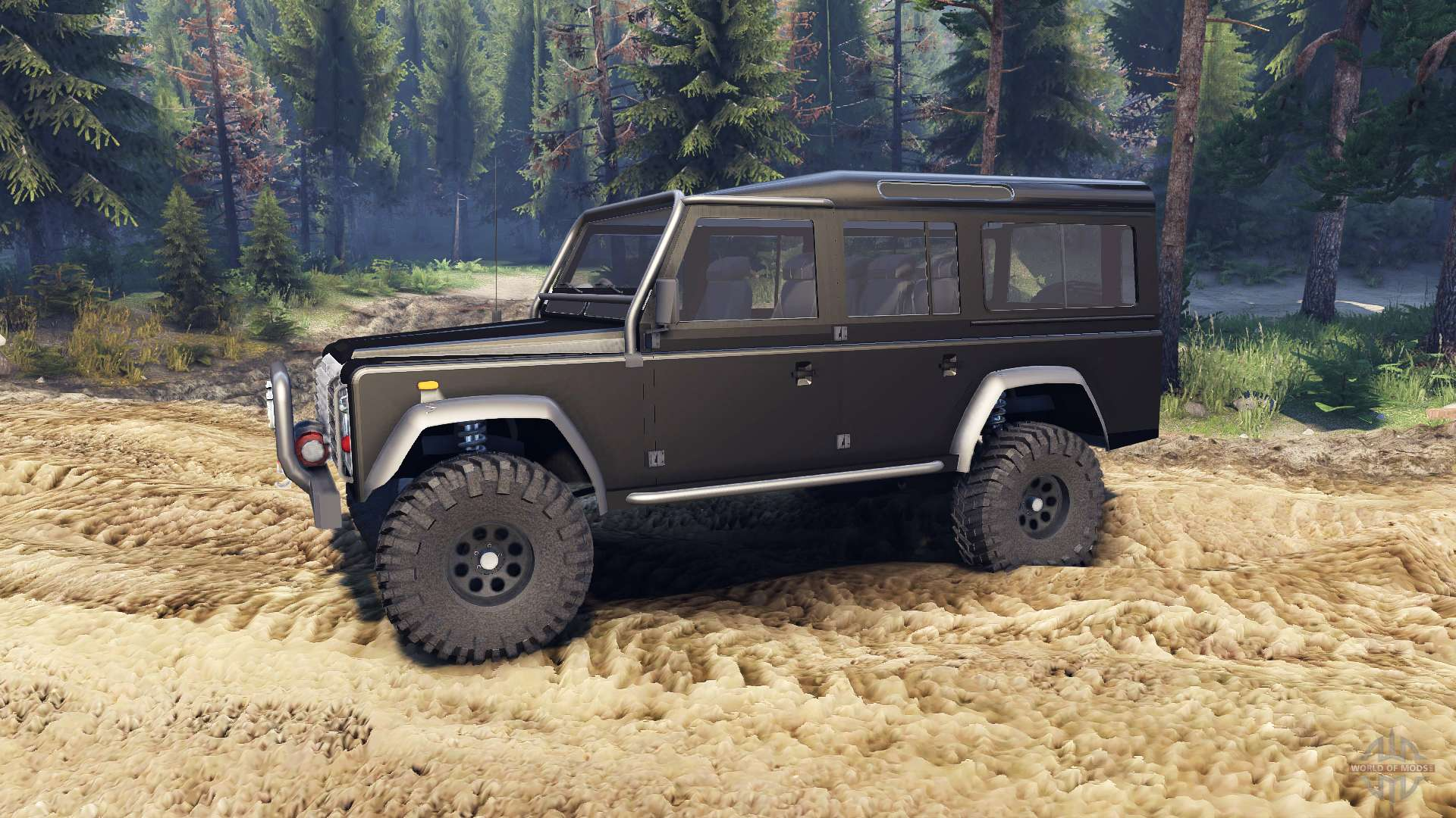 Land Rover Defender 110 Black Pour Spin Tires
