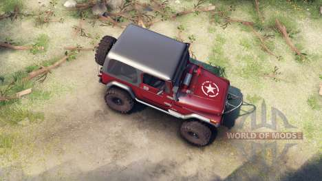 Jeep YJ 1987 maroon pour Spin Tires