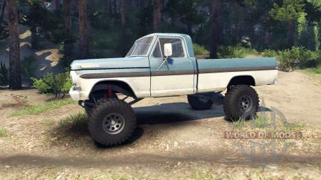 Ford F-200 1968 blue and white pour Spin Tires