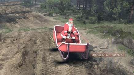 Santa auf Schlitten für Spin Tires