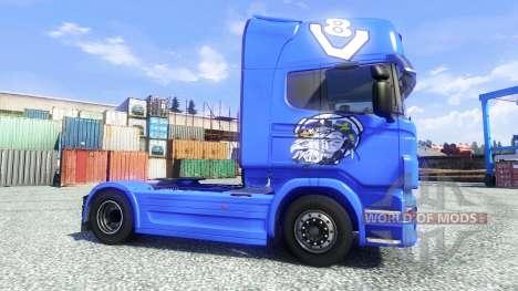 La peau V8 Topline sur le tracteur Scania pour Euro Truck Simulator 2