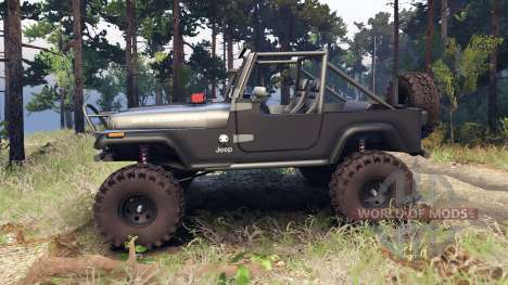 Jeep YJ 1987 Open Top gray pour Spin Tires