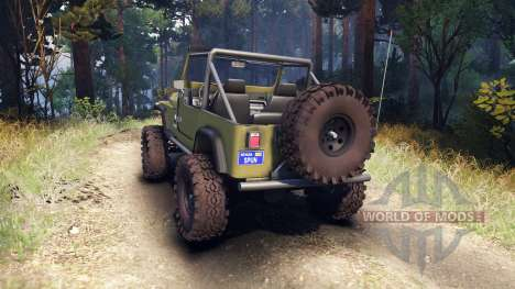 Jeep YJ 1987 Open Top green pour Spin Tires