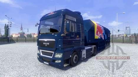Haut Red Bull Racing Hochglanz auf dem LKW MAN für Euro Truck Simulator 2