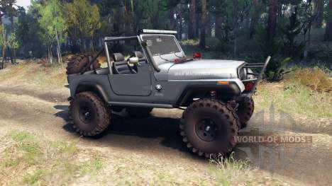 Jeep YJ 1987 Open Top silver pour Spin Tires