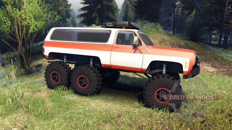Chevrolet K5 Blazer 1975 6x6 orange and white für Spin Tires