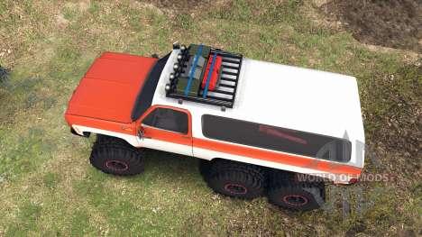 Chevrolet K5 Blazer 1975 6x6 orange and white pour Spin Tires