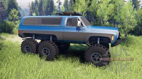 Chevrolet K5 Blazer 1975 Equipped blue and black für Spin Tires