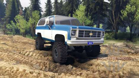 Chevrolet K5 Blazer 1975 blue and white pour Spin Tires