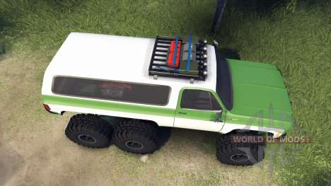 Chevrolet K5 Blazer 1975 6x6 green and white für Spin Tires
