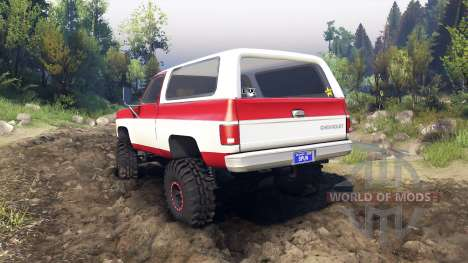 Chevrolet K5 Blazer 1975 red and white pour Spin Tires