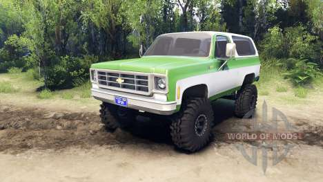 Chevrolet K5 Blazer 1975 green and white pour Spin Tires