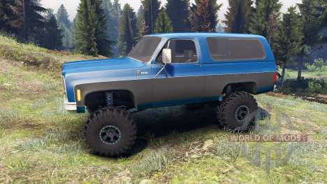Chevrolet K5 Blazer 1975 blue and black pour Spin Tires