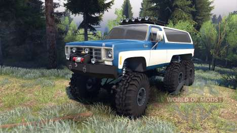 Chevrolet K5 Blazer 1975 Equipped blue and white für Spin Tires