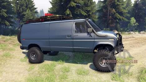 Ford E-350 Econoline 1990 v1.1 blue-gray für Spin Tires