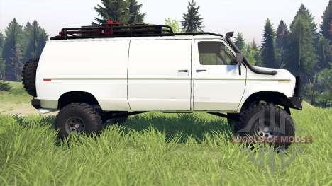 Ford E-350 Econoline 1990 v1.1 white pour Spin Tires