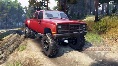 Chevrolet Silverado Dually Crew Cab v1.4 red pour Spin Tires