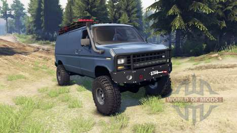 Ford E-350 Econoline 1990 v1.1 blue-gray pour Spin Tires