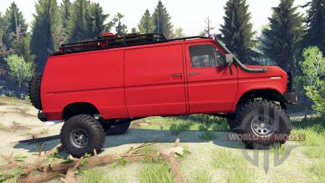 Ford E-350 Econoline 1990 v1.1 red pour Spin Tires