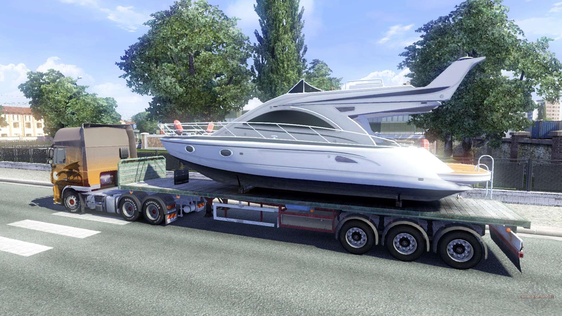 der trailer mit dem boot f r euro truck simulator 2. Black Bedroom Furniture Sets. Home Design Ideas