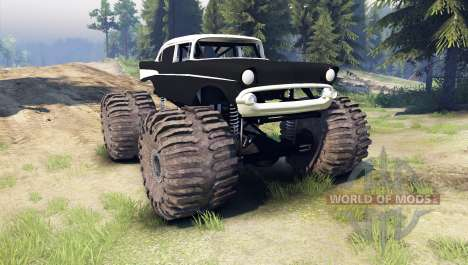 Chevrolet Bel Air 1955 Monster black pour Spin Tires