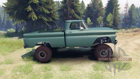 Chevrolet С-10 1966 Custom tropic turquoise pour Spin Tires