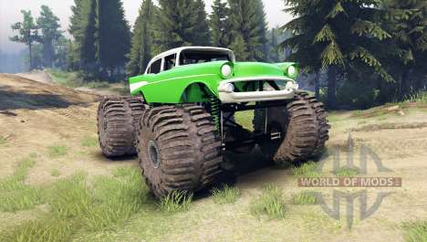 Chevrolet Bel Air 1955 Monster green pour Spin Tires