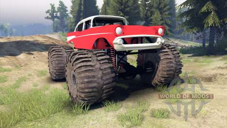 Chevrolet Bel Air 1955 Monster red pour Spin Tires