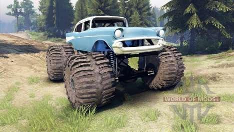 Chevrolet Bel Air 1955 Monster blue pour Spin Tires