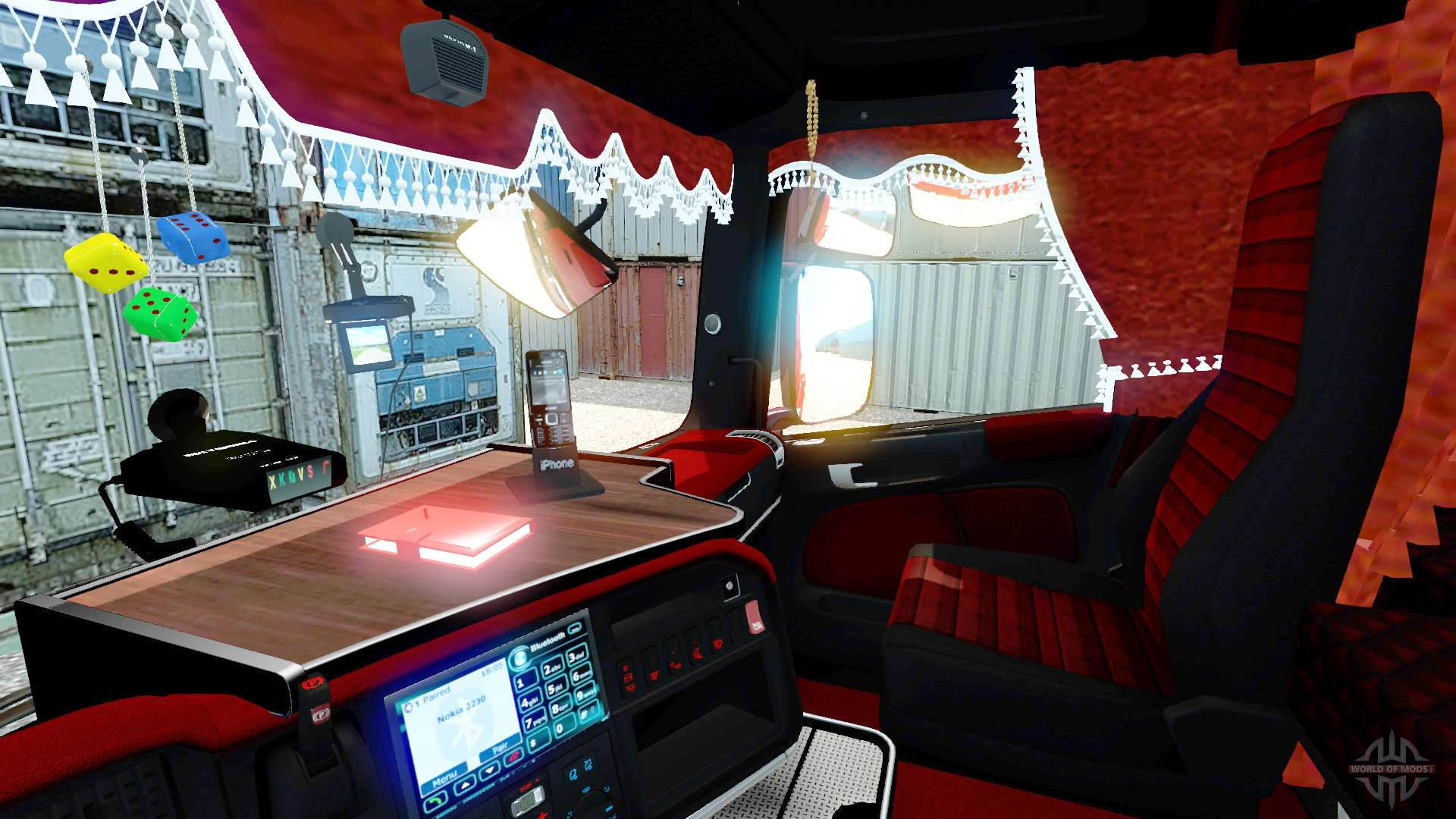 int rieur rouge scania pour euro truck simulator 2