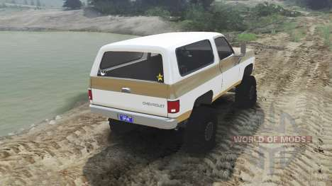 Chevrolet K5 Blazer 1975 [light saddle n white] pour Spin Tires