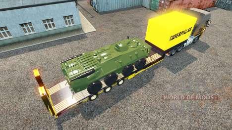 Tieflader-Auflieger mit gepanzerten Mannschaftst für Euro Truck Simulator 2