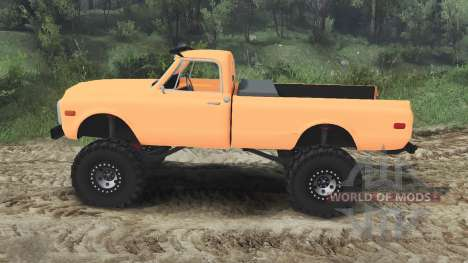 Chevrolet C10 Cheyenne 1972 [orange] pour Spin Tires