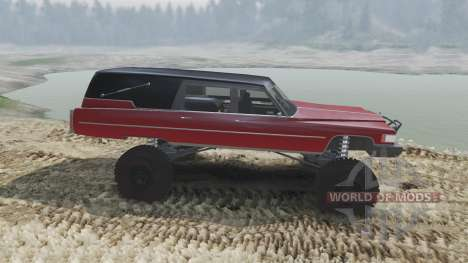 Cadillac Hearse 1975 [monster] [blood red and bl pour Spin Tires