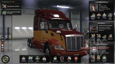Das maximale level, Geld und die offene Karte für American Truck Simulator
