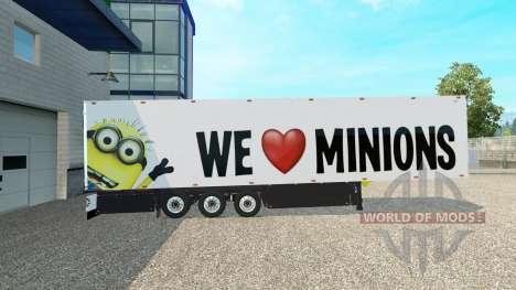 Minion-Fan skin v2.0 auf dem semi-trailer für Euro Truck Simulator 2