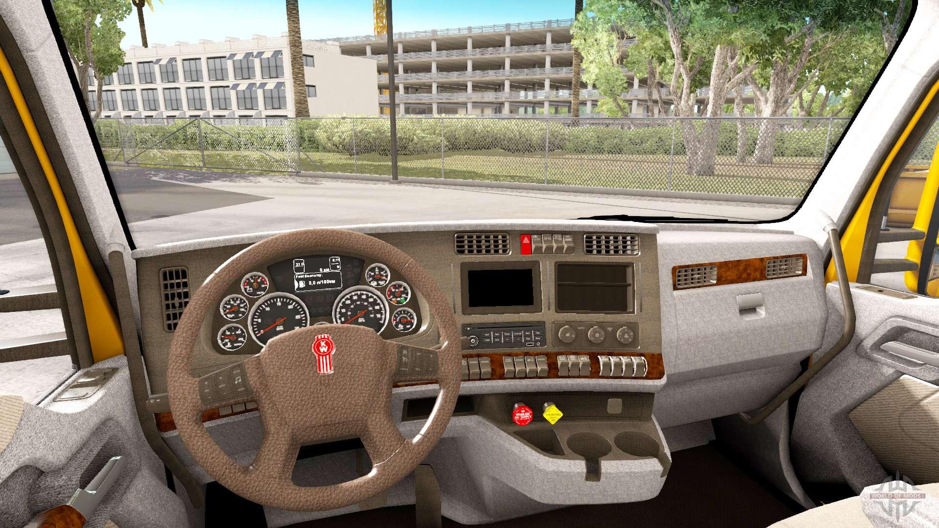 brun clair l 39 int rieur dans kenworth t680 pour american truck simulator. Black Bedroom Furniture Sets. Home Design Ideas