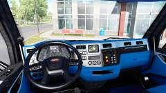 Schwarz und blau Innenraum in einen Peterbilt 57