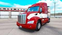 Rouge-blanc de la peau pour le camion Peterbilt